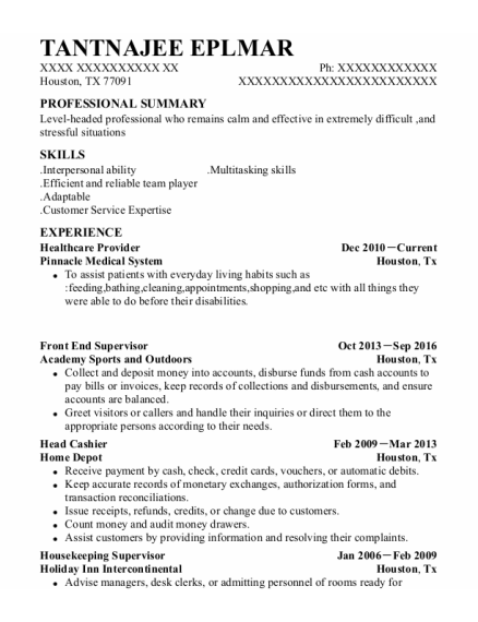 Healthcare Provider resume example Texas
