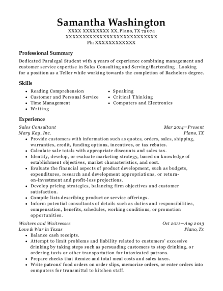 Sales Consultant resume example Texas