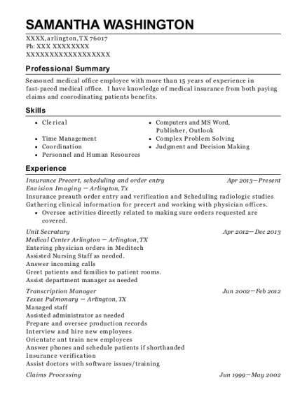 Insurance Precert resume template Texas