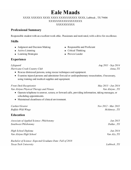 Lifeguard resume example Texas