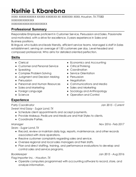 Party Coordinator resume format Texas