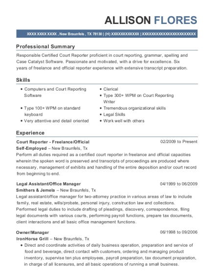 Court Reporter Freelance resume template Texas