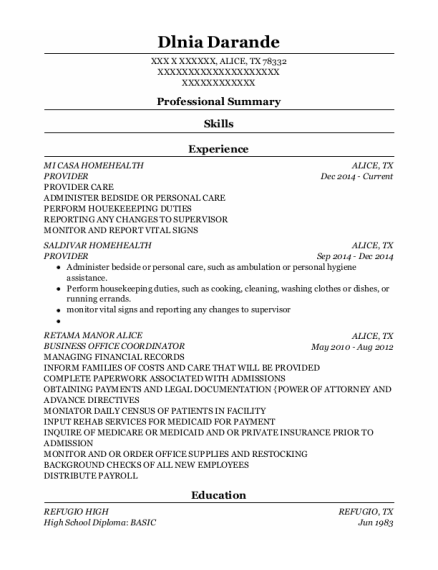 PROVIDER resume example Texas