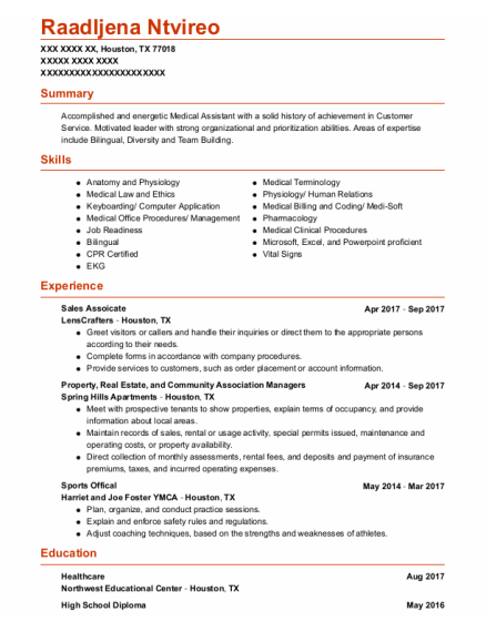 Sales Assoicate resume format Texas