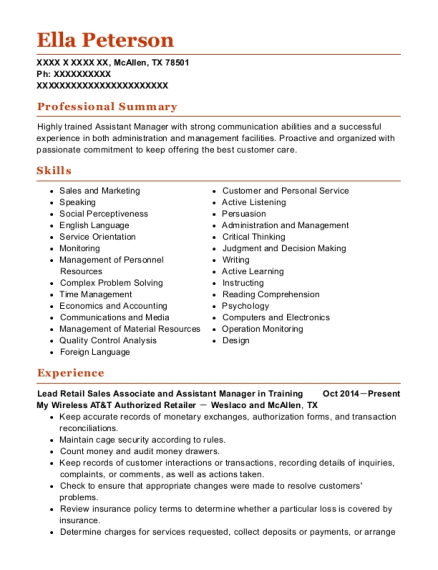 Lead Retail Sales Associate and Assistant Manager in Training resume format Texas