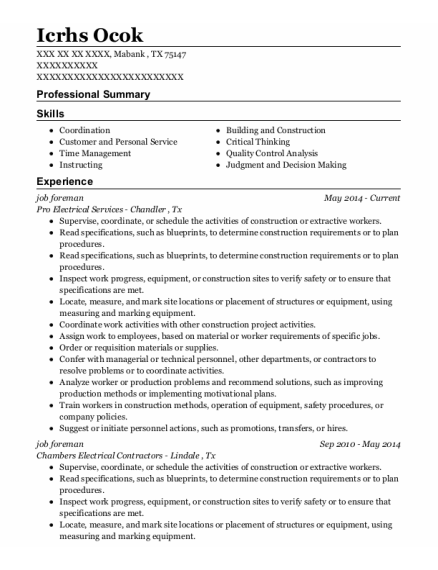 job foreman resume sample Texas
