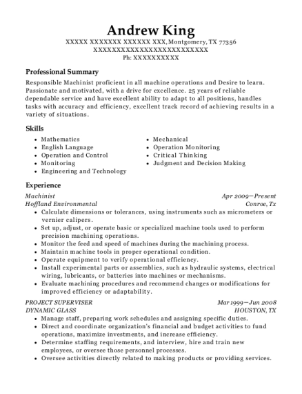 Machinist resume format Texas