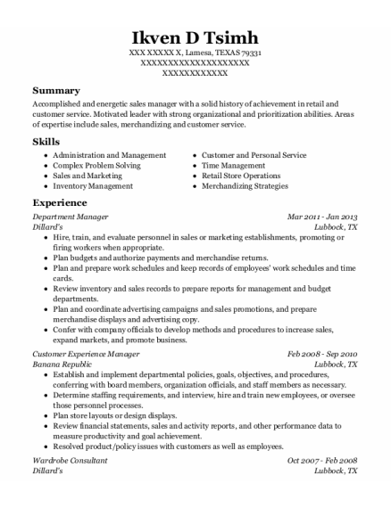 Department Manager resume format TEXAS
