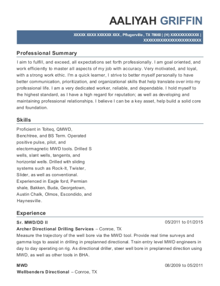 Schlumberger Directional Driller Resume Sample - Staten