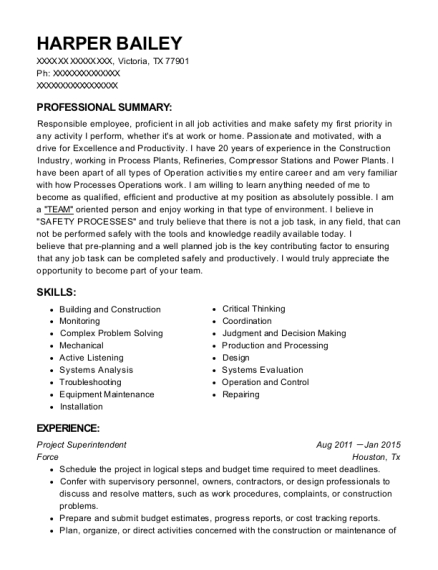 Project Superintendent resume format Texas