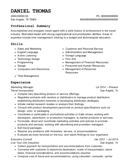 Marketing Manager resume sample Texas