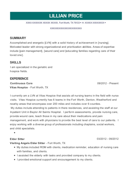 Continuous Care resume template Texas