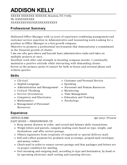 Office Clerk resume template Texas
