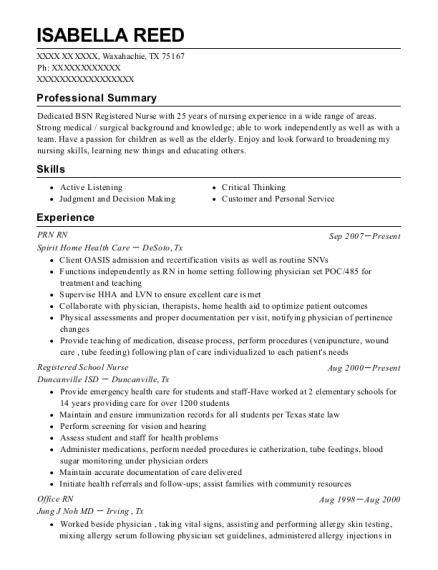 PRN RN resume sample Texas