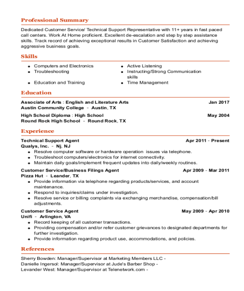 Technical Support Agent resume template Texas