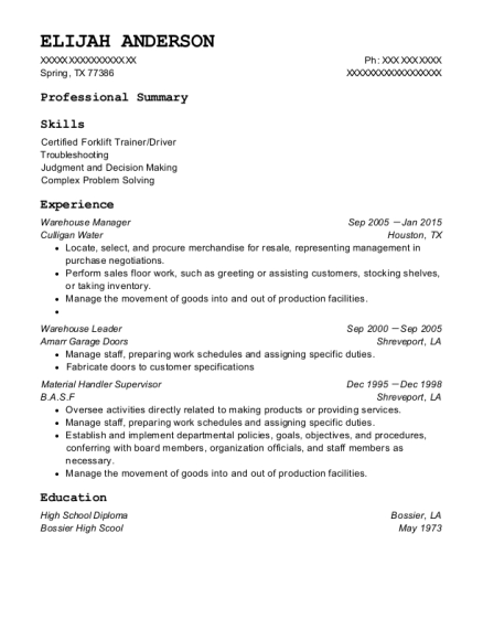 Warehouse Manager resume format Texas