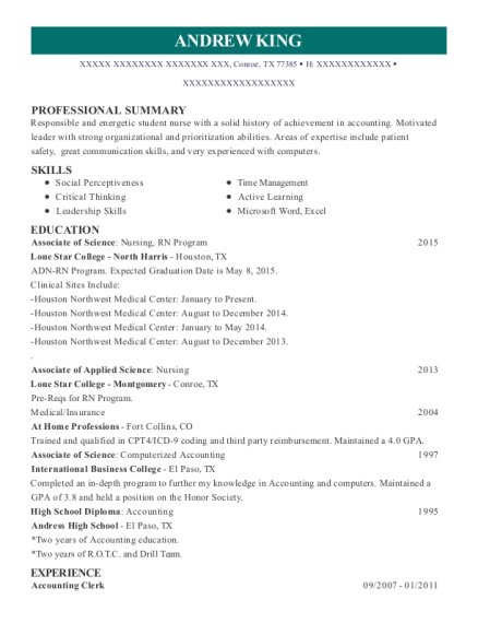 Accounting Clerk resume format Texas
