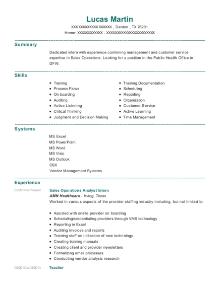Maersk Line Operations Analyst Resume Sample