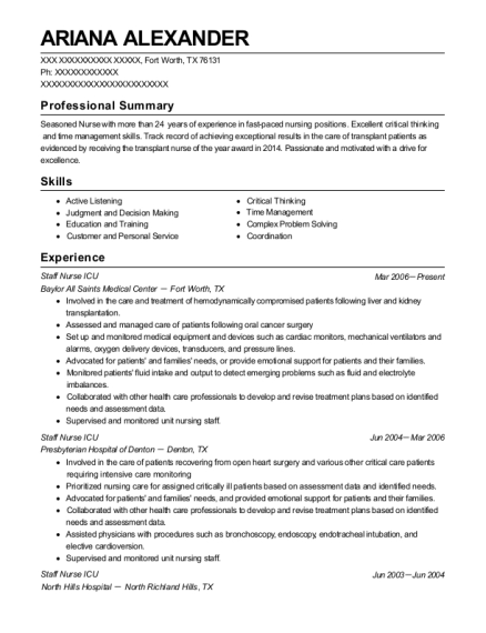 Staff Nurse ICU resume sample Texas