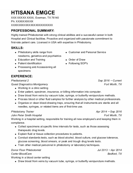 Mobile Phlebotomist resume template Texas