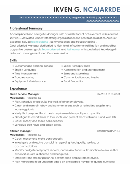 Guest Service Manager resume example Texas