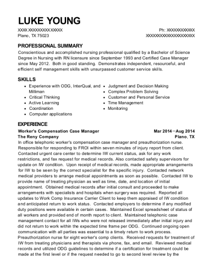 Workers Compensation Case Manager resume format Texas