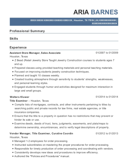 Assistant Store Manager resume format Texas