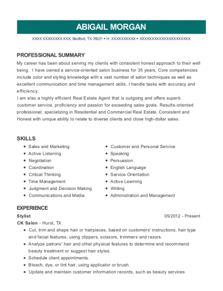 Stylist resume example Texas