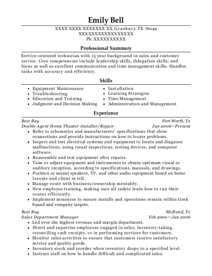 Double Agent Home Theater Installer resume sample Texas
