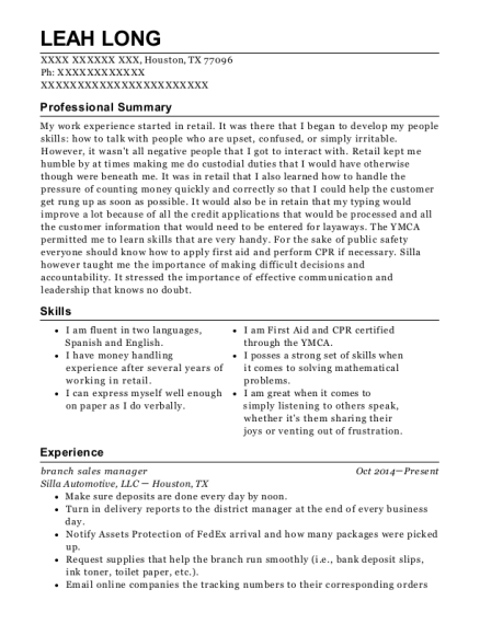 branch sales manager resume format Texas