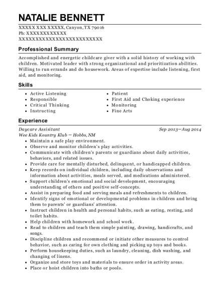 Daycare Assisitant resume sample Texas