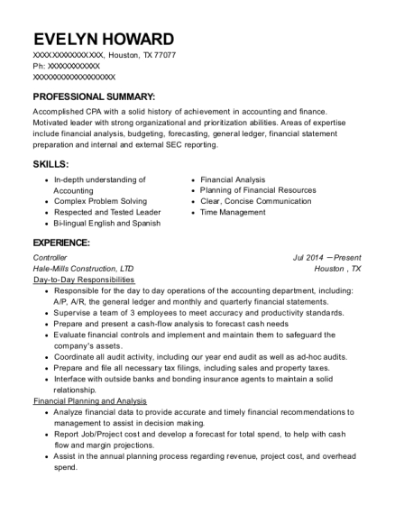 Department Of Commerce Financial Manager Resume Sample - Boise Idaho