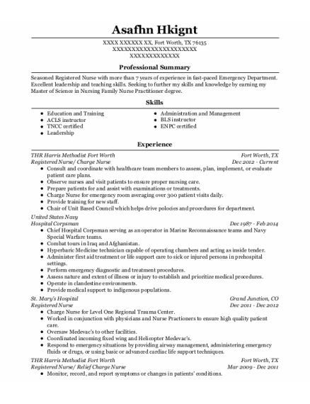 Registered Nurse resume sample Texas