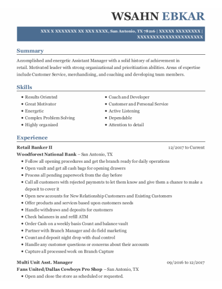 Key Carrier resume sample Texas