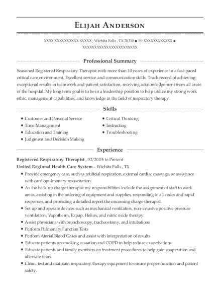 Registered Respiratory Therapist resume template Texas