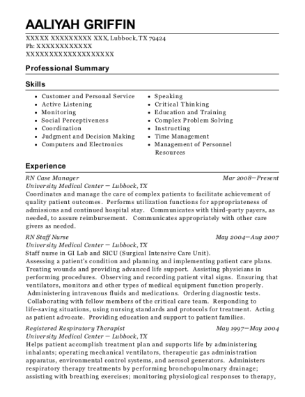 RN Case Manager resume template Texas