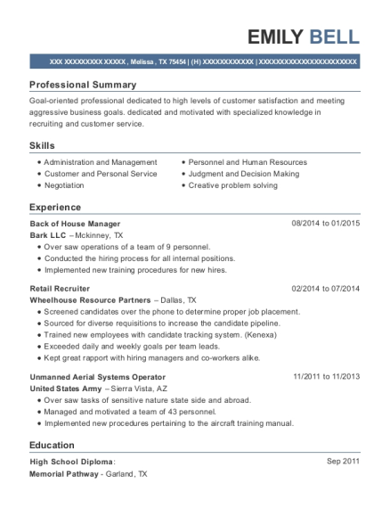 Back of House Manager resume sample Texas