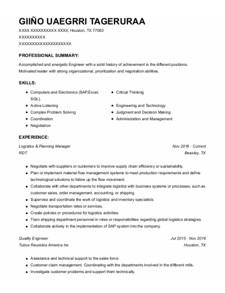 Quality Engineer resume format Texas