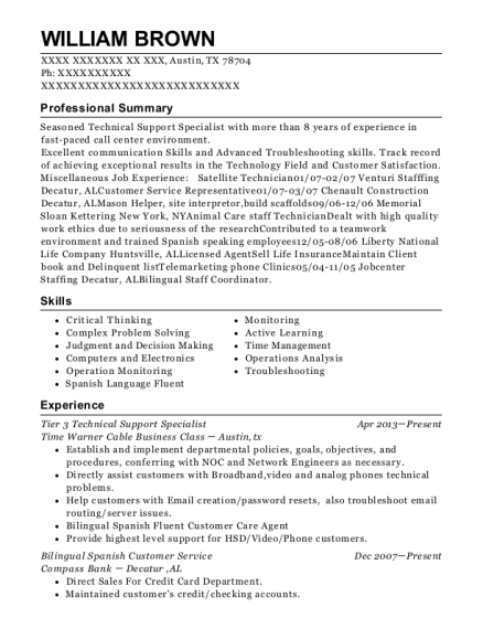 Tier 3 Technical Support Specialist resume sample Texas