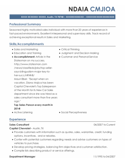 Sales Consultant resume template Texas