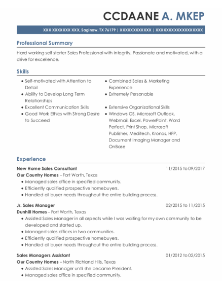 New Home Sales Consultant resume example Texas