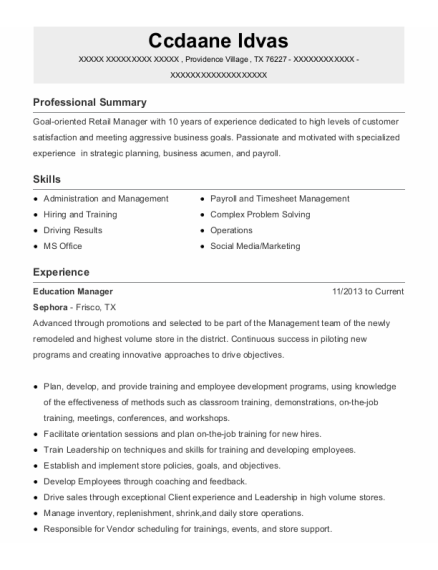Education Manager resume example Texas
