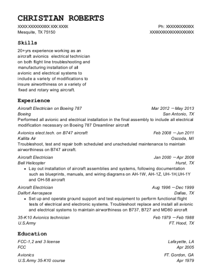 Aircraft Electrician on Boeing 787 resume example Texas