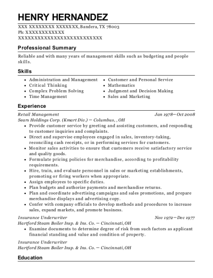 Retail Management resume template Texas