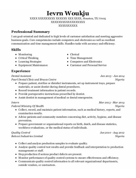 Dental Assistant resume format Texas