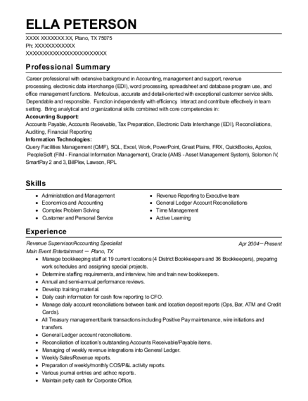 Revenue Supervisor resume format Texas