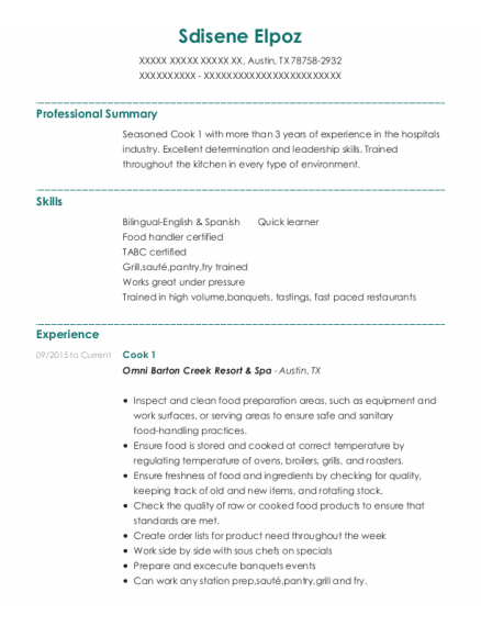 Cook 1 resume format Texas