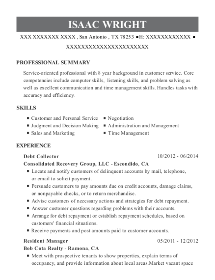 Debt Collector resume format Texas