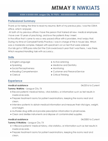 Medical Assistance resume template Texas