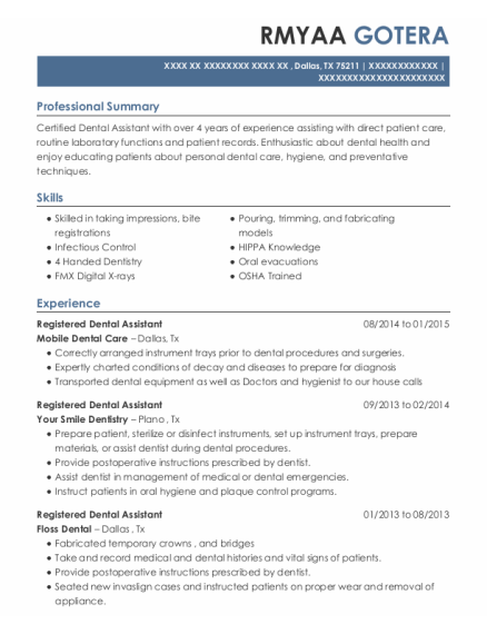 Registered Dental Assistant resume template Texas